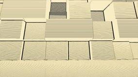 O bloco retro do estilo do disco com linhas e o ruído fazem sinal ao amarelo e ao branco do fundo Cubos 3d abstratos que movem-se ilustração stock