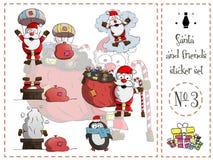 O bloco, Santa e os amigos da etiqueta numeram o vetor 3 ilustração royalty free