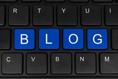 O blogue da palavra feito de quatro botões azuis Foto de Stock Royalty Free