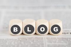 O blogue das palavras em cubos Foto de Stock