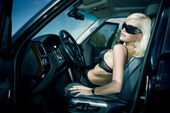 O blonde sexual no roupa interior Fotografia de Stock Royalty Free
