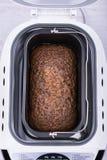 O bolo caseiro do cacau com nozes e passas cozeu no fabricante de pão Imagens de Stock Royalty Free