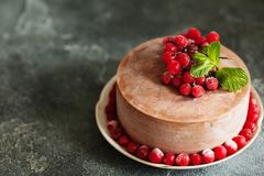 O bolo da musse de chocolate com frutos do lingonberry e a hortelã copiam o spac imagens de stock