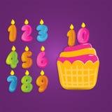 O bolo de aniversário bonito e engraçado do número, número do aniversário ajustado para o convite, cartão e cartaz, ajustou a col Imagens de Stock