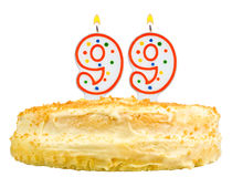 O bolo de aniversário candles a noventa nove do número isolado Imagens de Stock Royalty Free