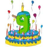 O bolo de aniversário com número nove Candle, comemorando o nono ano de vida, balões coloridos e revestimento do chocolate ilustração do vetor