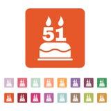 O bolo de aniversário com velas sob a forma do ícone do número 51 símbolo do aniversário liso Foto de Stock