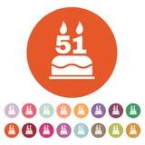 O bolo de aniversário com velas sob a forma do ícone do número 51 símbolo do aniversário liso Imagens de Stock