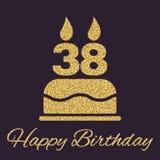 O bolo de aniversário com velas sob a forma do ícone do número 38 símbolo do aniversário Sparkles e brilho do ouro Foto de Stock