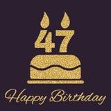 O bolo de aniversário com velas sob a forma do ícone do número 47 símbolo do aniversário Sparkles e brilho do ouro Foto de Stock Royalty Free