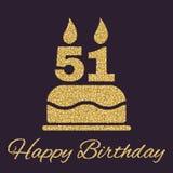 O bolo de aniversário com velas sob a forma do ícone do número 51 símbolo do aniversário Sparkles e brilho do ouro Foto de Stock Royalty Free