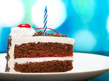 O bolo de aniversário do chocolate representa Forest And Appetizing preto imagem de stock royalty free