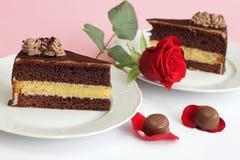 O bolo de chocolate com levantou-se Fotos de Stock