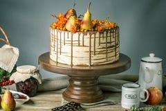 O bolo de mel derrama sobre o chocolate e decorado com peras e espinheiro cerval de mar em uma tabela de madeira Do outono vida d Imagens de Stock