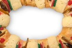 O bolo do esmagamento, reis endurece, Rosca de Reyes Fotografia de Stock