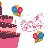 o bolo do feliz aniversario balloons a celebração dos confetes Fotos de Stock