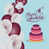 o bolo do feliz aniversario balloons confetes Imagens de Stock Royalty Free