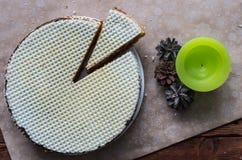 O bolo do waffle Fotos de Stock