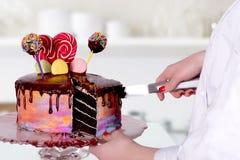 O bolo dos cortes do pasteleiro Foto de Stock