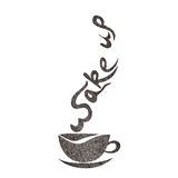 O bom dia, acorda o desenho da mão do copo de café ilustração do vetor