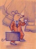 O bom rato pequeno no terno com café vai trabalhar ilustração do vetor