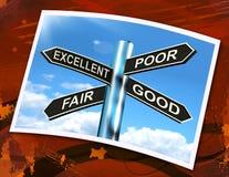 O bom sinal justo pobre excelente significa a avaliação dos resultados Fotografia de Stock Royalty Free