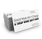 O bom trabalho não é serviço de qualidade barato dos cartões Imagens de Stock Royalty Free