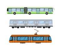 O bonde e o ônibus bonde da estrada de cidade transportam a ilustração do vetor Fotos de Stock