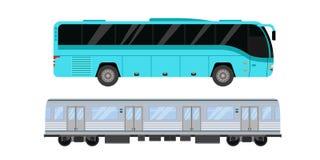 O bonde e o ônibus da estrada de cidade transportam a ilustração do vetor Fotografia de Stock Royalty Free