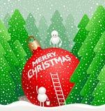 O boneco de neve bonito pequeno escreve um cumprimento Imagens de Stock