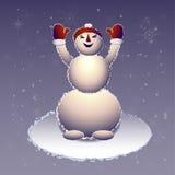 O boneco de neve em uma boina vermelha levantou as mãos acima Fotos de Stock