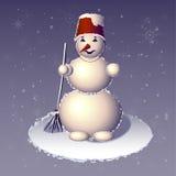 O boneco de neve ereto com a vassoura em uma mão Foto de Stock Royalty Free