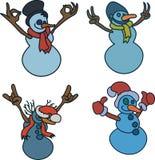 O boneco de neve mostra gestos de mão: polegares acima, sinal de V, que rochas, ilustração do vetor da aprovação ilustração royalty free