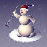 O boneco de neve running em um tampão de um Santa-Klaus Imagem de Stock