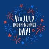 4o bonito do cartão decorativo de julho Fotografia de Stock
