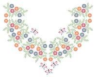 O bordado colorido costura a linha de imitação quadro do pescoço com povos fotografia de stock