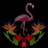 O bordado costura com o pássaro do flamingo com flores do hibiscus VE Imagem de Stock Royalty Free