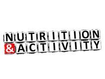 o botão da nutrição 3D e da atividade clica aqui o texto do bloco Fotos de Stock Royalty Free