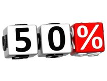 o botão de 50 por cento 3D clica aqui o texto do bloco Fotos de Stock Royalty Free