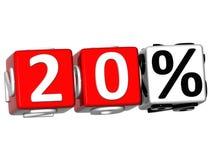 o botão de 20 por cento 3D clica aqui o texto do bloco Fotos de Stock Royalty Free