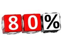 o botão de 80 por cento 3D clica aqui o texto do bloco Fotografia de Stock Royalty Free