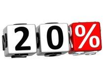 o botão de 20 por cento 3D clica aqui o texto do bloco ilustração stock