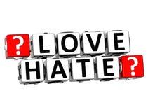 o botão do ódio do amor 3D clica aqui o texto do bloco Fotos de Stock Royalty Free