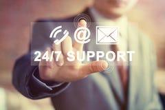 O botão do negócio 24 horas apoia o sinal do correio da Web do ícone Fotografia de Stock Royalty Free