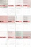O botão e a pilha de Rosa coloriram o calendário geométrico 2016 dos testes padrões Imagens de Stock