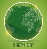 O botão lustroso com incandesce em memória do Dia da Terra, ilustração do vetor Imagem de Stock