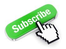 O botão verde subscreve e entrega o cursor Fotos de Stock Royalty Free