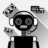 O bot móvel ou Chatterbot do bate-papo do preto do conceito do ícone do serviço do pagamento de Chatbot em linha apoiam a tecnolo Imagens de Stock
