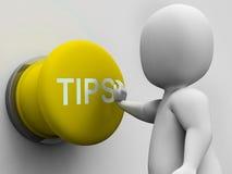 O botão das pontas mostra a orientação e o conselho das sugestões Foto de Stock