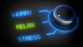 O botão de interruptor com três opções, relaxa, preocupa-se, força-se Foto de Stock
